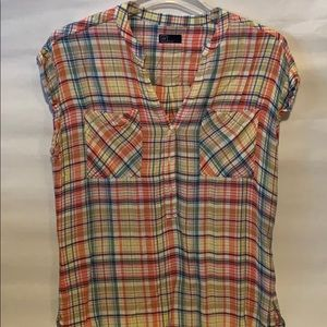 Gap colorful plaid top size L